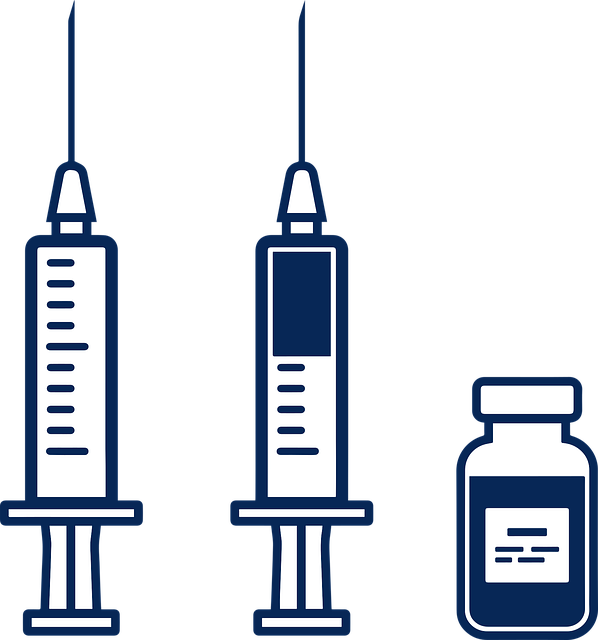 Vaccine bottle and syringes