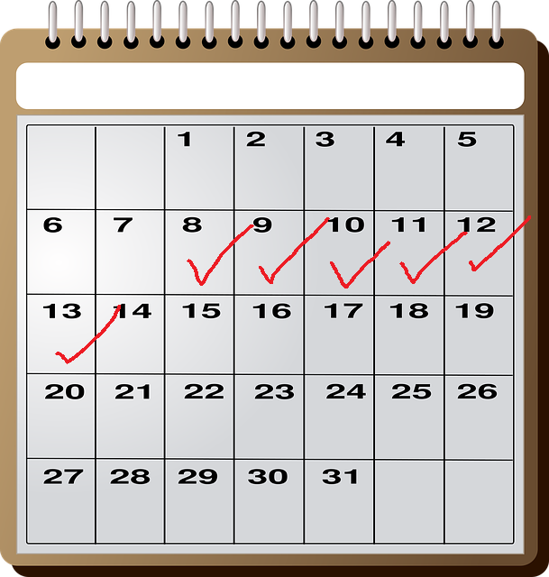 calendar with red check boxes marking off a menstrual cycle
